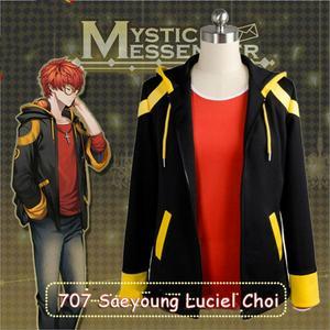Disfraz Mystic Messenger 707 de Saeyoung Luciel Choi, disfraz de Cosplay para hombres y mujeres, disfraz de Halloween, chaqueta con capucha de Anime, Sudadera con capucha, camiseta