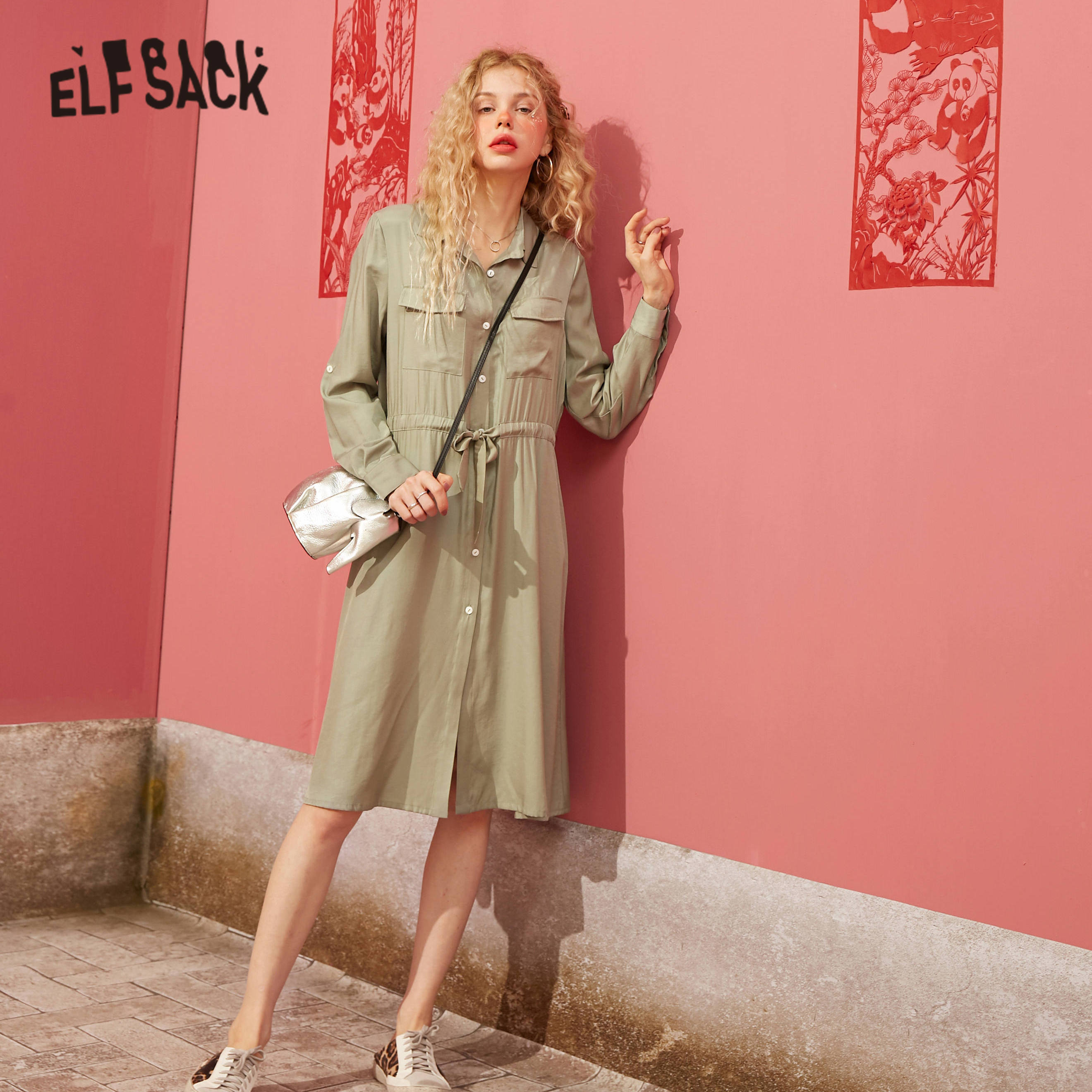 ELFSACK Green Solid Single Breasted Casual Women Shirt Dress 2020 Spring Pure Elastic Waist Korean Ladies Pocket Daily Dresses