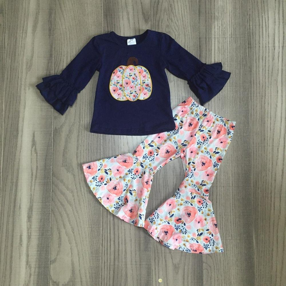 halloween thanksgiving fall/winter baby girls children clothes set outfits boutique navy pumpkin floral ruffles pants cotton-in Clothing Sets from Mother & Kids