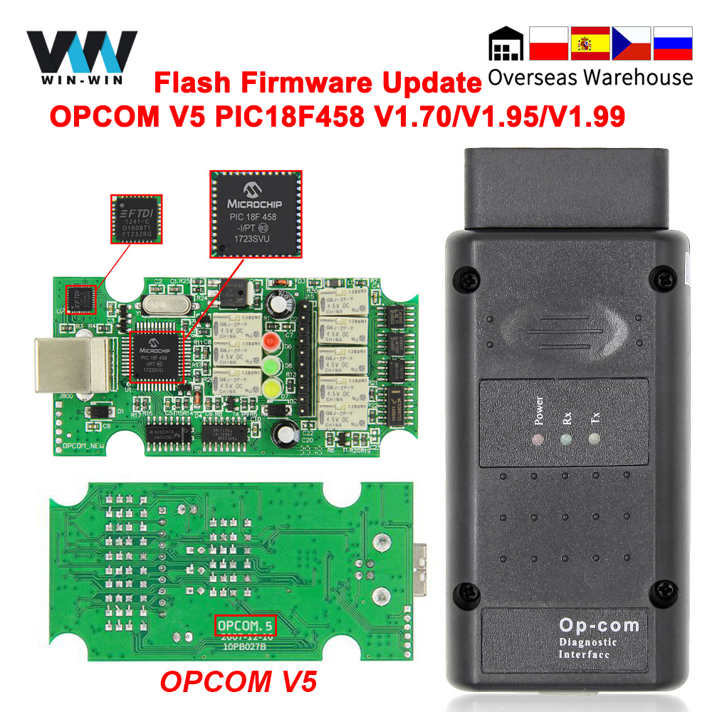 OPCOM V5 For Opel OP COM 1.70 flash firmware update Car Diagnostic for Opel OP-COM 1.95 PIC18F458 CAN BUS OBD OBD2 Auto Tools