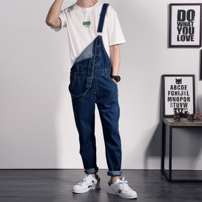 Fashion Mens Slim Fit Long Denim Overalls Suspender Hole Ripped Jeans Hip Hop Casual Rompers Pencil Pants Man Jumpsuit Big Size