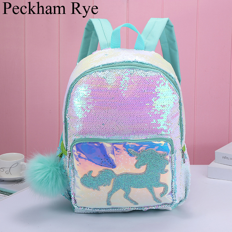 Girls Fashion Sequins Unicorn Backpack Women Large Capacity Book Bag Schooltas Satchel School Bag For Teenager Gilrs Student