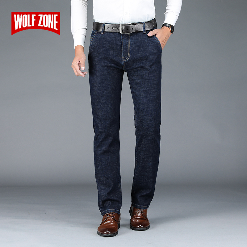 Business Classic Stretch Men Jeans Fashion Loose Straight Mens Jeans Pants Brand Autumn Winter New Casual Trousers