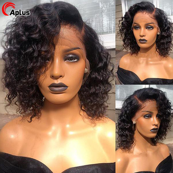 Short Kinky Curly Bob Wig Human Hair Wigs For Black Women 360 Lace Frontal Wig Curly 13x4 13X6 Transparent Bob Lace Front Wigs