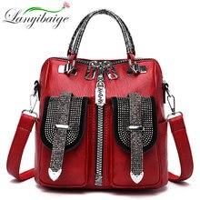 3 в 1 роскошный двойной карман женский кожаный рюкзак женский маленький школьный рюкзак для девочек высокого качества сумки на плечо для женщин 2019