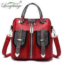 3 in 1 Luxury Double Pocket Women Leather Backpack Female Small School Bag for Girls High Quality Shoulder Bags for Women 2019