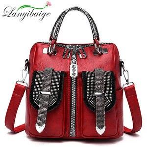 Image 1 - 3 in 1 Luxus Doppel Tasche Frauen Leder Rucksack Weibliche Kleine Schule Tasche für Mädchen Hohe Qualität Schulter Taschen für frauen 2019