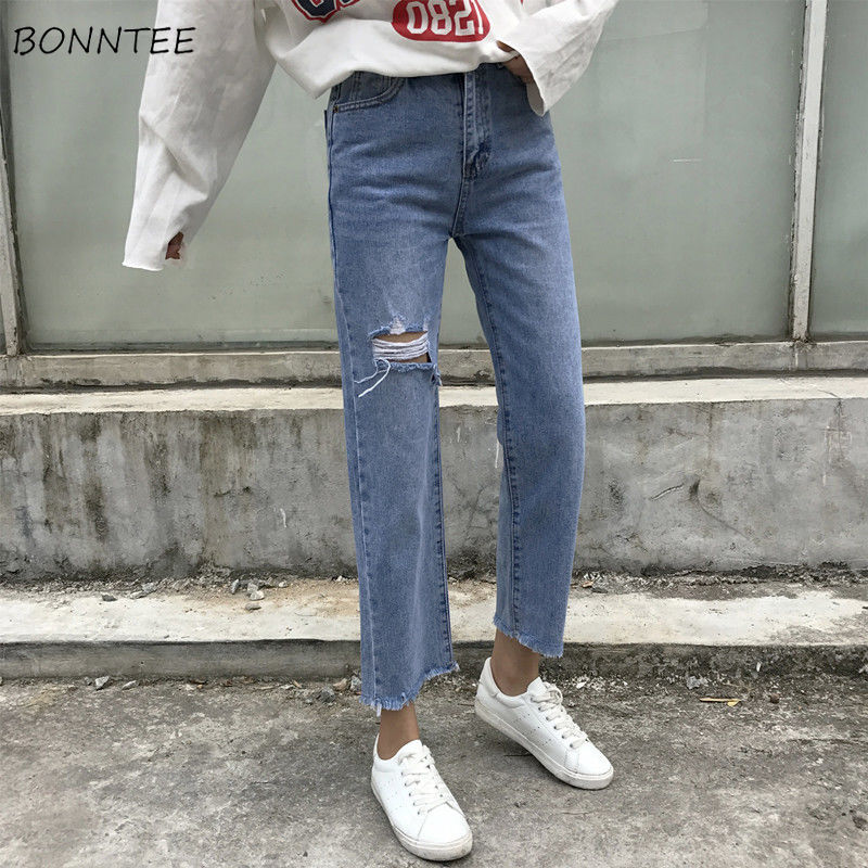 Jeans Women High Waist Basic Simple Vintage Womens Trousers Holes Regular Harajuku Trendy Fashion Casual Retro All-match Chic