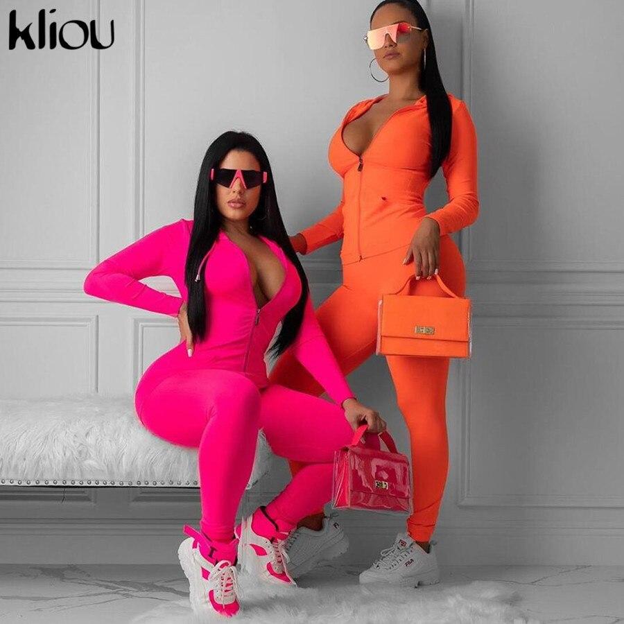 Kliou-Conjunto de dos piezas de ropa deportiva para mujer, color rosa neón y naranja, tops de manga larga para mujer, leggings elásticos estrechos, chándal 2019
