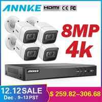 ANNKE 4K HD Ultra Clear Filmati 8CH CCTV Sistema di Sicurezza 5in1 DVR Con 4X8 MP Esterna Resistente Alle Intemperie video Telecamera di Sorveglianza Kit
