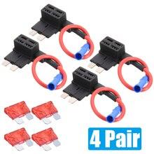 купить 4 Pair Add A Circuit Fuses Tap ATO ATC Standard Piggy-back Blade Fuse Holder Auto Fuse Holder with Fuse дешево