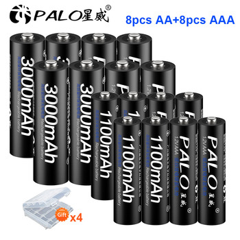 PALO AA AAA bateria sets rechargeable battery 8pcs 1.2V AA Battery+8pcs AAA pre-charged Battery NIMH AA/AAA Rechargeable Battery voxlink aaa battery 1 2v 1100mah 8pcs rechargeable battery pre charged recharge ni mh rechargeable battery for camera microphone