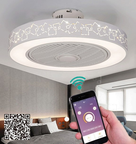 Smart Modern LED Ceiling Fan Lights Remote Control Mobile Phone App 50cm 110v 220v Fan Lamp For Dining Bedroom Lighting