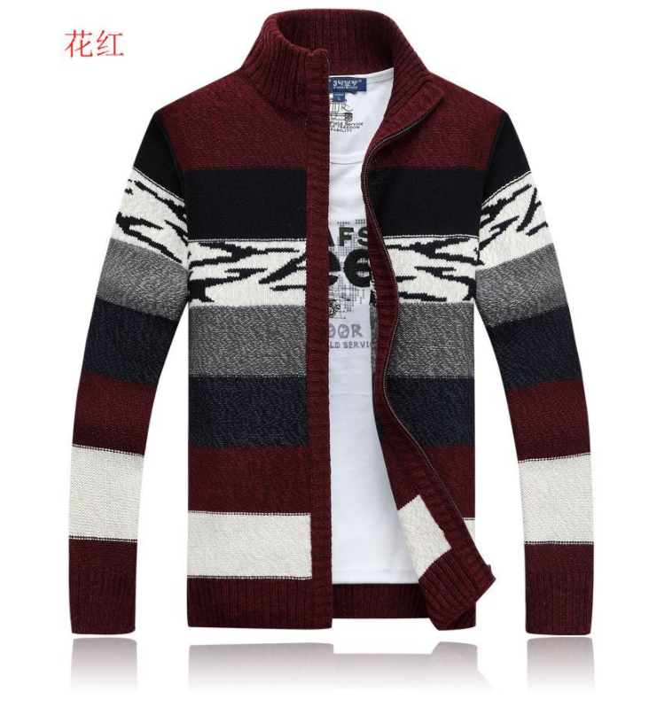 Knitted Sweater Men Cardigans Collar Winter Wool Sweater Fashion Cardigans Male Sweaters Coat Brand Men's Clothing