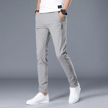 Męskie spodnie marki Casual męskie biznesowe męskie spodnie klasyczne średniej wagi proste pełnej długości moda oddychające spodnie tanie i dobre opinie COTTON Poliester Midweight 1304-8807-6682 Mężczyźni Na co dzień REGULAR Suknem NONE Zipper fly Mieszkanie youth fashion