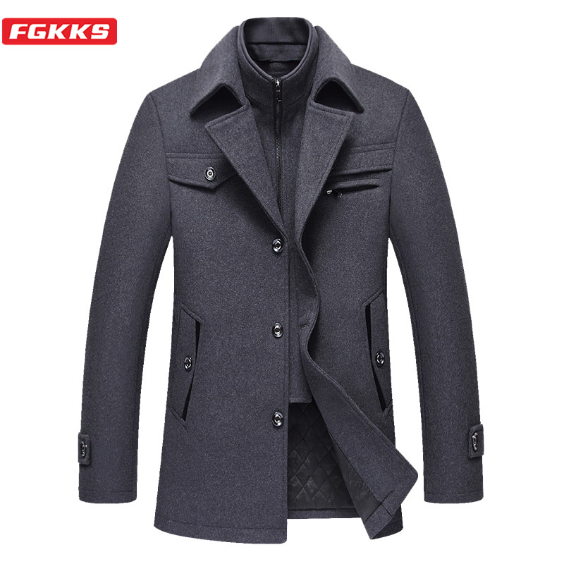 FGKKS Casual Brand Men Wool Blends Coat Autumn Winter New High Quality Men's Coats Male Single Breasted Wool Coats