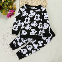 Fashion Baby Boy Girl Sport Suit Kids Mickey Mouse Children Sweatshirt + Pants 2 Pcs Clothing Sets Toddler Cotton Outfit Jerseys