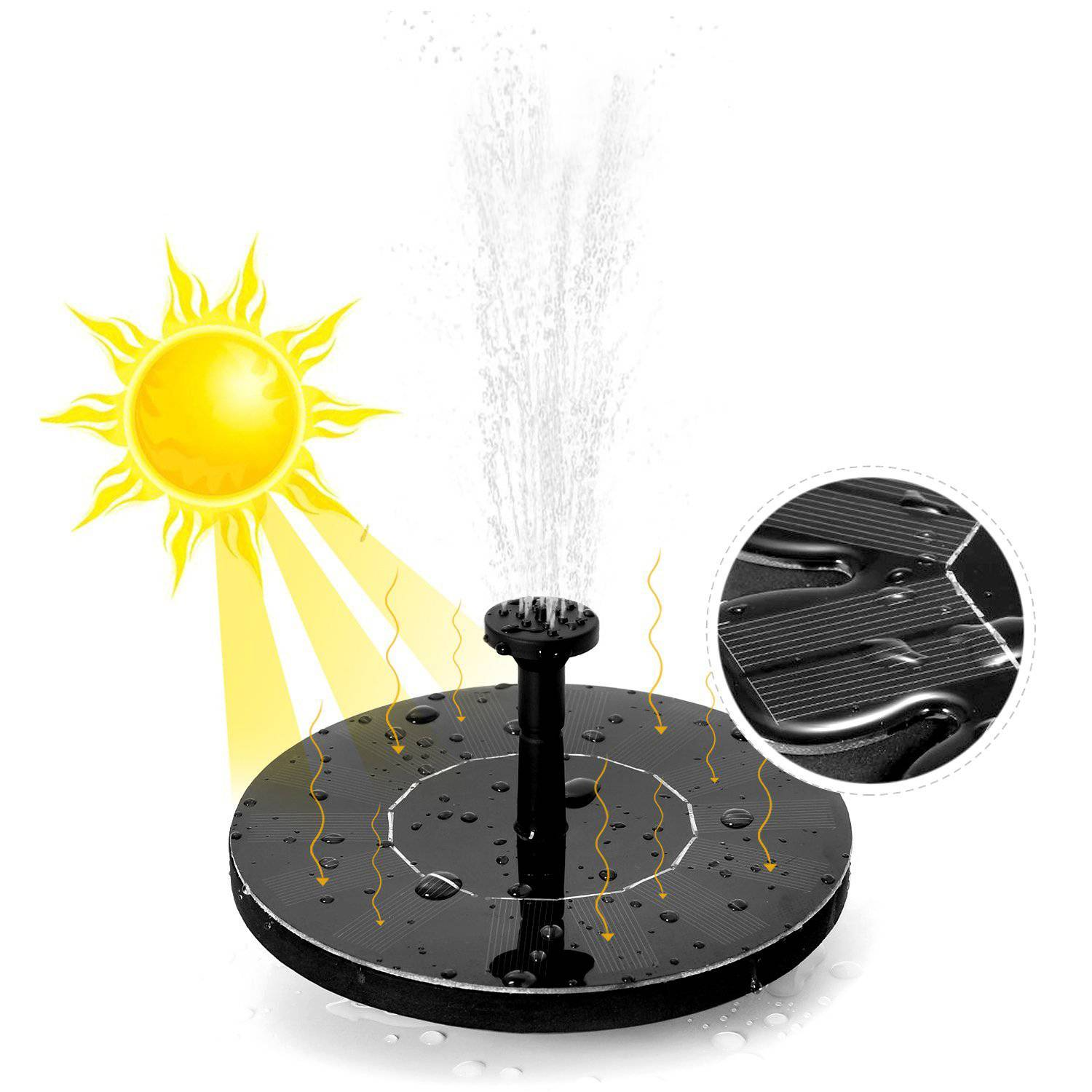 180L Solar Panels Floating Water Pump Watering Systerm Garden Decoration Solar Power Fountain Garden Fountain Solar Water Pump