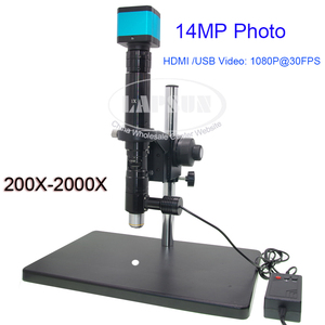 200X-2000X зум стерео C-Mount коаксиальный светильник, Монокуляр объектива + подставка для обрезки + 14 МП/Sony датчик Промышленная камера микроскоп