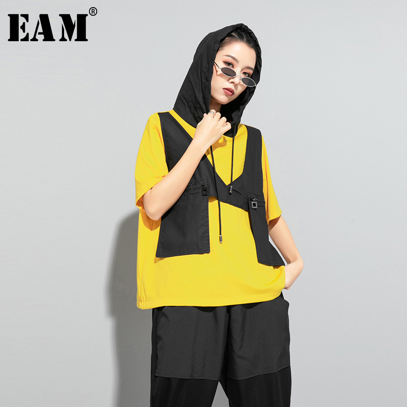 [EAM] Women Contrast Color Split Pocket Irrgular Big Size T-shirt New Hooded Short Sleeve  Fashion Tide Spring Summer 2020 1U512 1