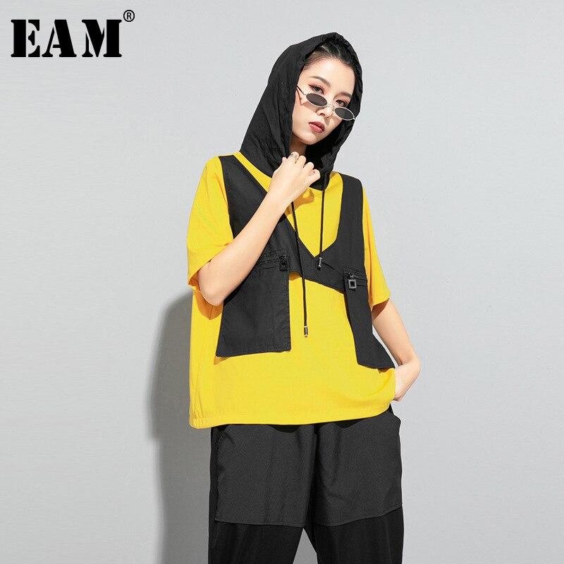 [EAM] Women Contrast Color Split Pocket Irrgular Big Size T-shirt New Hooded Short Sleeve  Fashion Tide Spring Summer 2020 1U512 1