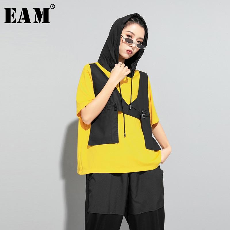 [EAM] Women Contrast Color Split Pocket Irrgular Big Size T-shirt New Hooded Short Sleeve  Fashion Tide Spring Summer 2020 1U512
