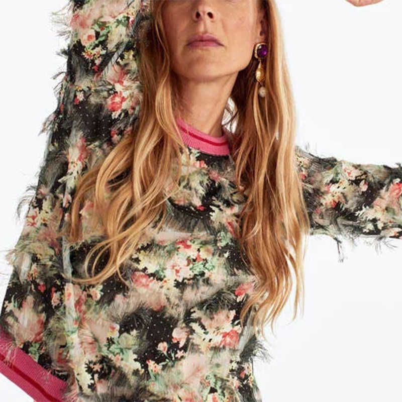 ZA new women sweatshirt floral printed flower pattern fashion 3D feather Casual chic lady pullover female tracksuits