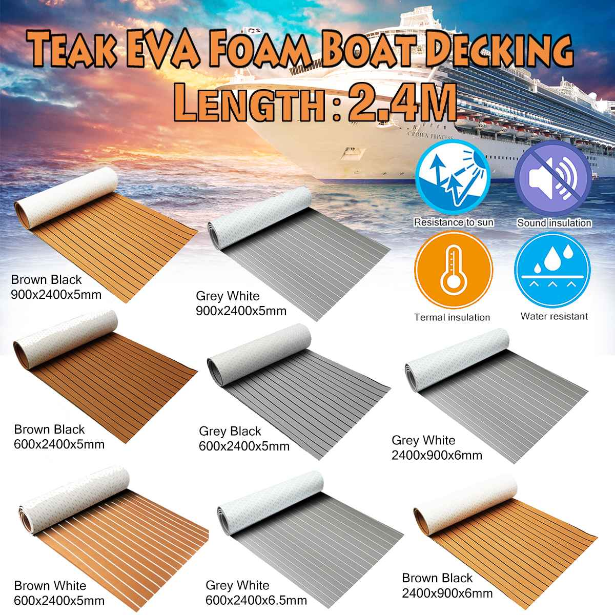 Self-Adhesive Foam Teak Decking EVA Foam Marine Flooring Faux Boat Decking Sheet Accessories Marine 600x2400x5mm
