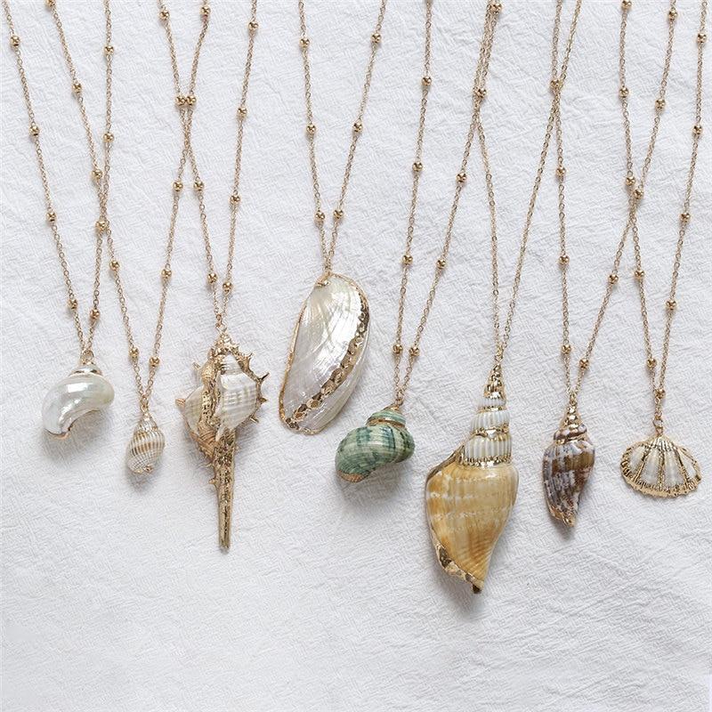 Fashion Jewelry Trend Beach Bohemian Shell Pendant Chain Choker Necklace Charm