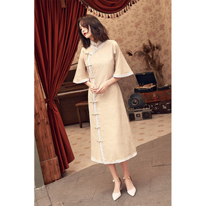 Image 4 - 2020 Vestido De Debutante Cheongsam 2020 Summer New Modified And Linen Robe Young Girl Students Cute Little Sweet Wind Clothing