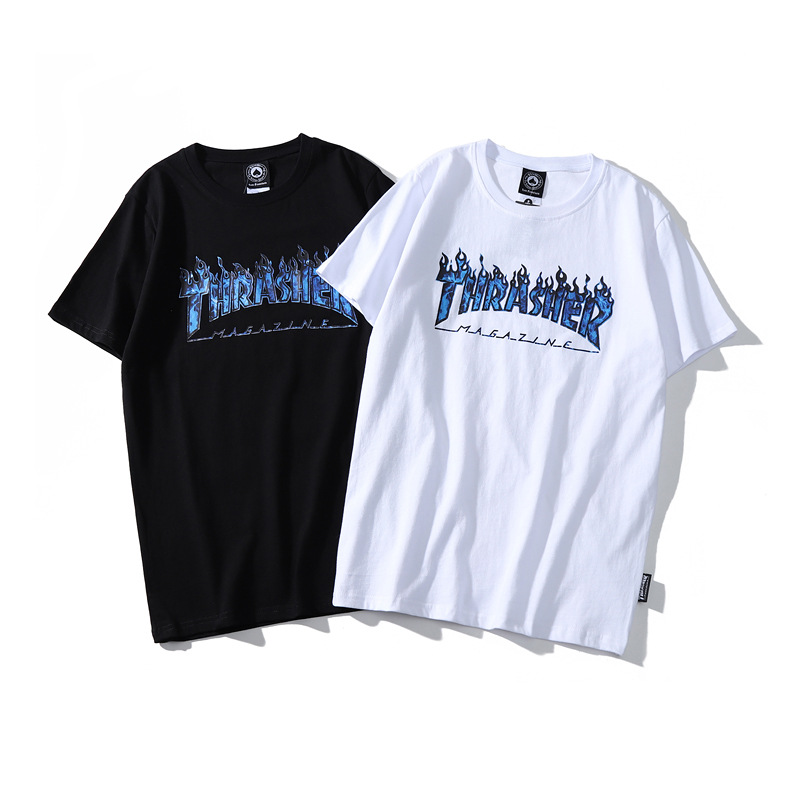 19ss Ghost Flame Logo Lettered Short Sleeve T-shirt Loose-Fit Couples INS Fashion Blue Flame English Fashion T