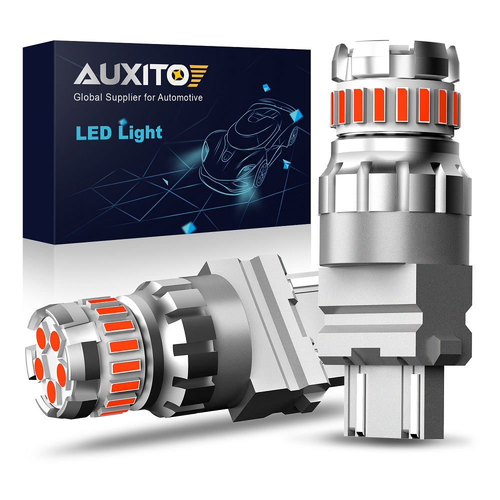 AUXITO 2x T20 красный светодиодный светильник 3156 P27/7 Вт светодиодный Canbus T20 W21W W21/5W светодиодный WY21W 7440 7443 светодиодный стробоскоп вспышка автомоби...