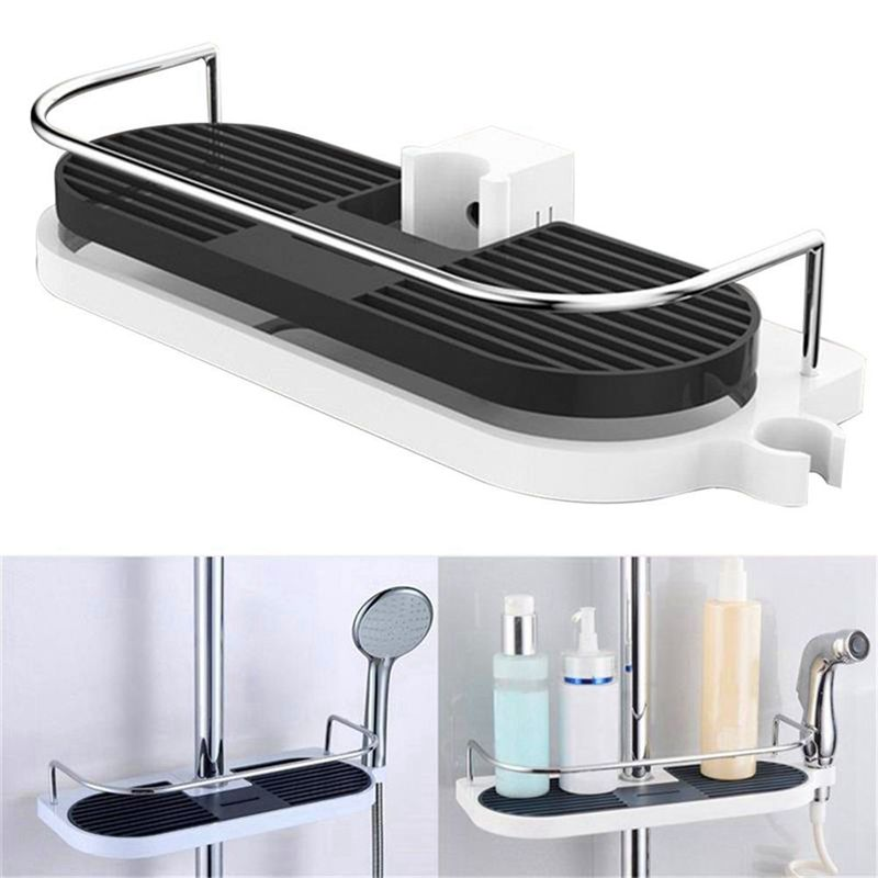 Bathroom Shelf Multifunction Storage Rack Shower Head Shampoo Holder Towel Tray Adjustable Bathroom Shelves Single Tier