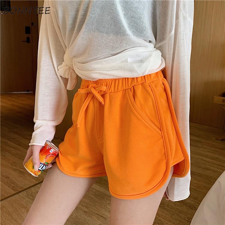 High   Shorts   Womens Simple Basic Pockets Harajuku Popular Stylish All-match Solid Elastic Waist Daily Orange Summer Skinny Simple