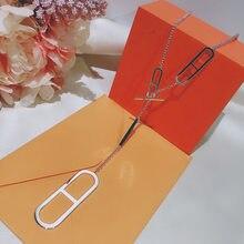 Ensemble de colliers en forme de H pour femmes, bijoux en argent S925, qualité supérieure, chaîne luxueuse pour pull, marque française, tendance
