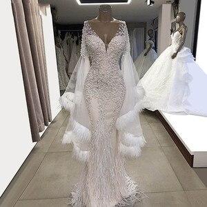 Image 2 - Vestidos de festa de sereia, branco wendding, mangas compridas, 2019 couture, decote em v, tule, miçangas, cristais, vestidos de baile