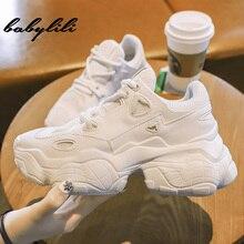 Белые женские повседневные дышащие кроссовки на платформе; коллекция года; Модные женские кроссовки из сетчатого материала; женская обувь из Вулканизированной Ткани; женские кроссовки