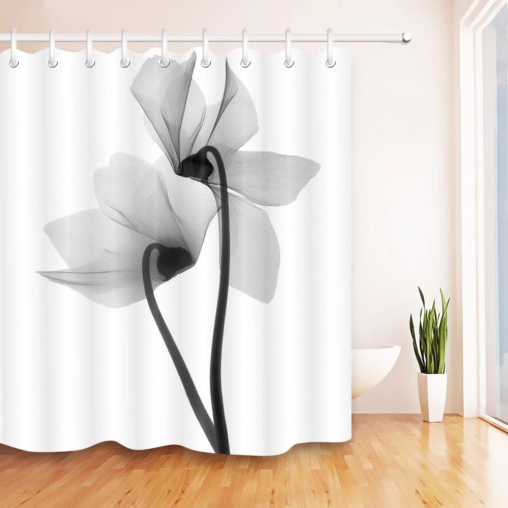 waterproof black and white flower shower curtains bathroom curtain fabric x ray effect flowers bath screen bathtub home decor