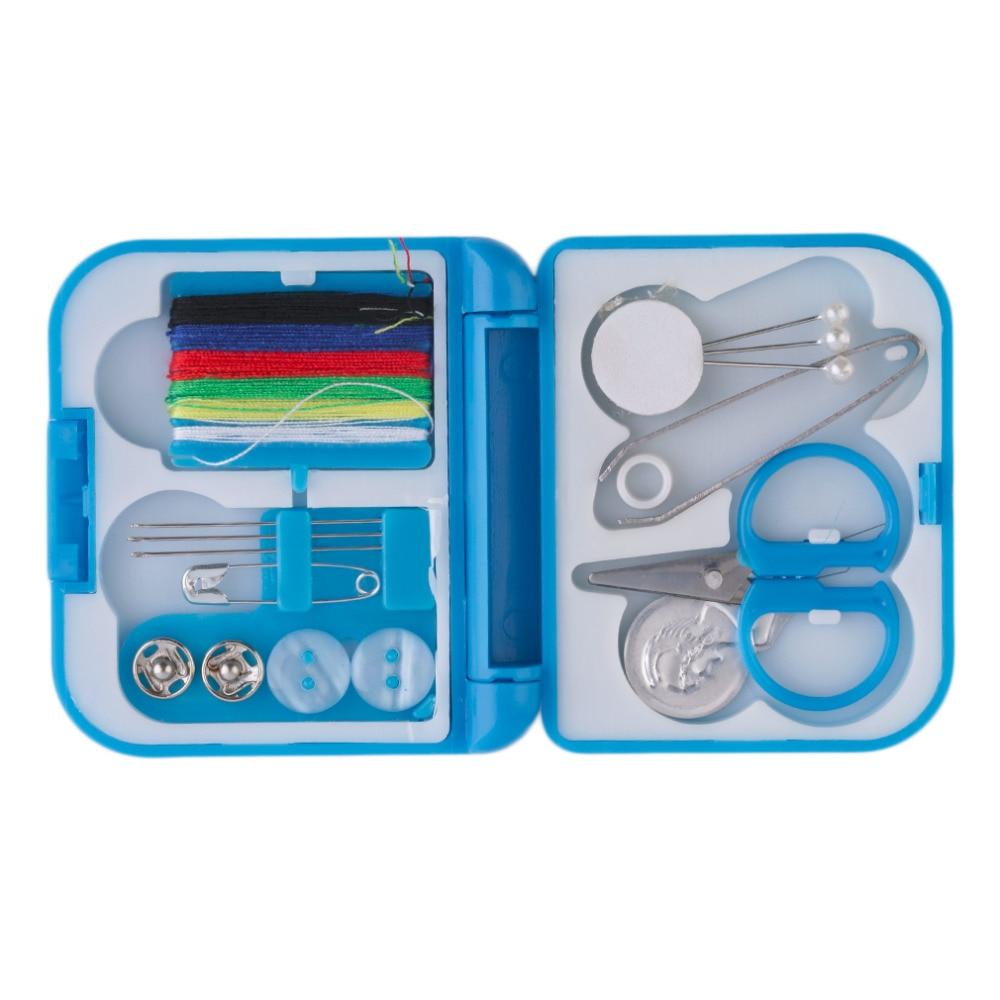 Travel Sewing Kit In Hard Plastic Case Thread Scissors Thimble Threader Mini 2
