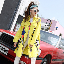 2019 Women Autumn Cotton Denim Trench Coats Yellow Cartoon Appliques Vintage Cas