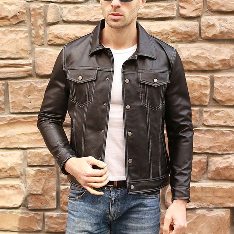 Men Casual Genuine Leather Coat Brand Luxury Real Leather Jacket Slim Lapel Black Pocket Sheep Leather Jacket Aviation Clothes