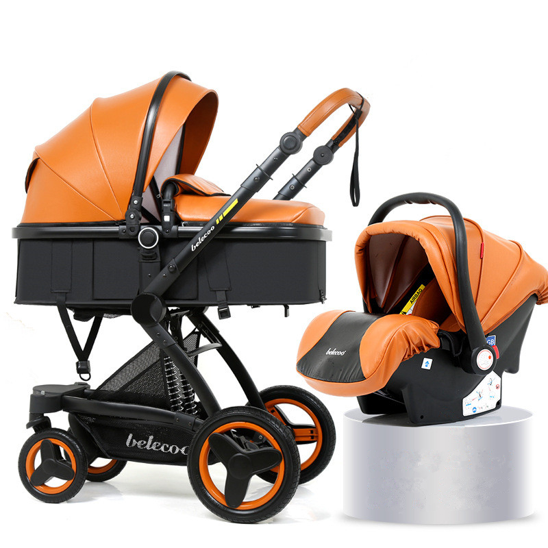 High Landscape <font><b>Baby</b></font> Stroller <font><b>3</b></font> <font><b>in</b></font> <font><b>1</b></font> Luxury Hot Mom Stroller Travel <font><b>Pram</b></font> Reversible <font><b>Baby</b></font> Trolley Pink Stroller with Car Seat image