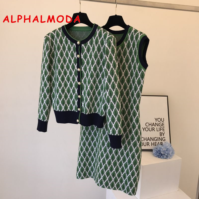 ALPHALMODA 2019 Winter Round-neck Knitted Cardigans + Dress Woman Leaf Rhombic Jacquard Chequered Two-piece Suit OL Casual Set