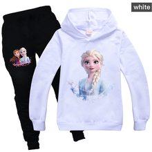 Disney frozen crianças agasalho meninas roupas conjunto congelado elsa hoodies e calças crianças sportwear roupas moda esporte terno