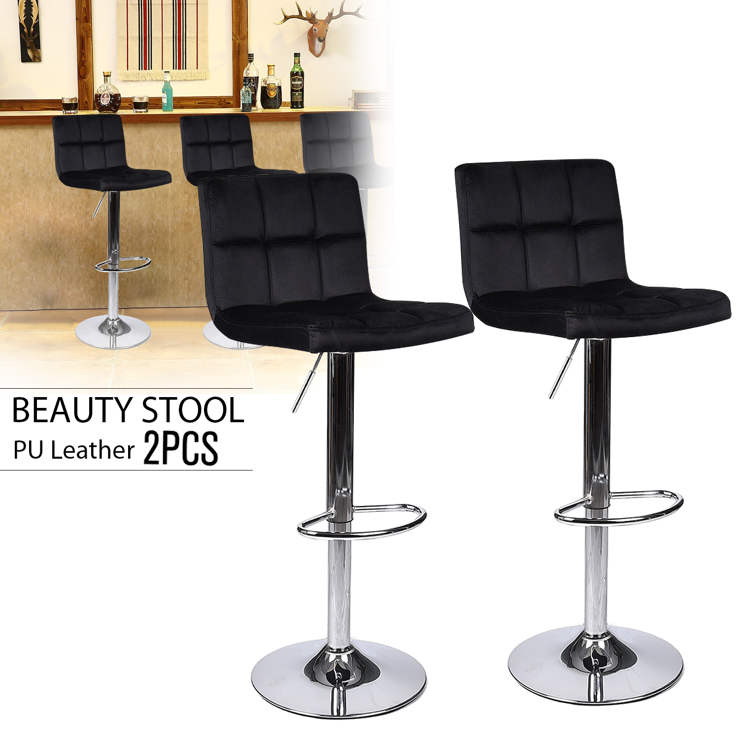 Set Of 2 Bar Stools Swivel Adjustable Chair Counter Seat Kitchen Dining Black US