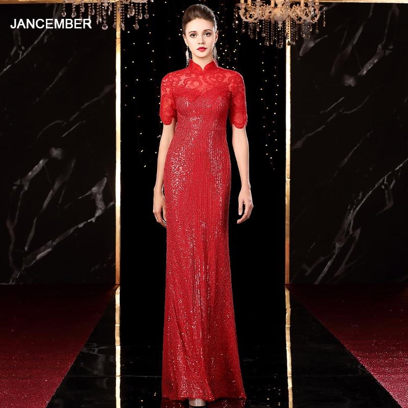 J20111 Jancember Elegant Long Evening Dresses For Women High Neck Half Sleeve Sequin Illusion Red Fancy Dresses Sukienka Dluga