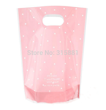 Pink polka dot plastic Cookie/candy Bags with handle 200pcs/lot