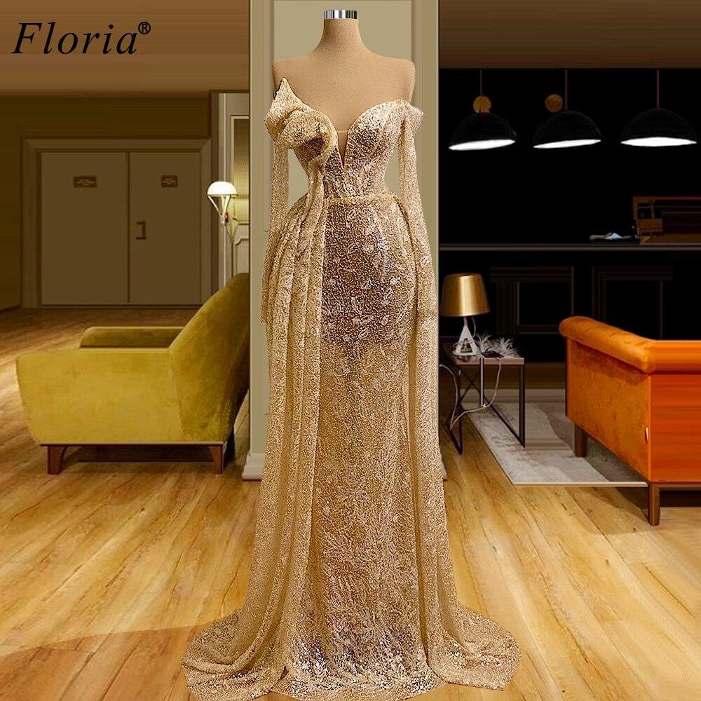 Plus Size Champagne Prom Dresses Mermaid Arabic Off Shoulder Cocktail Dresses Women Party Night Evening Dresses вечерние платья