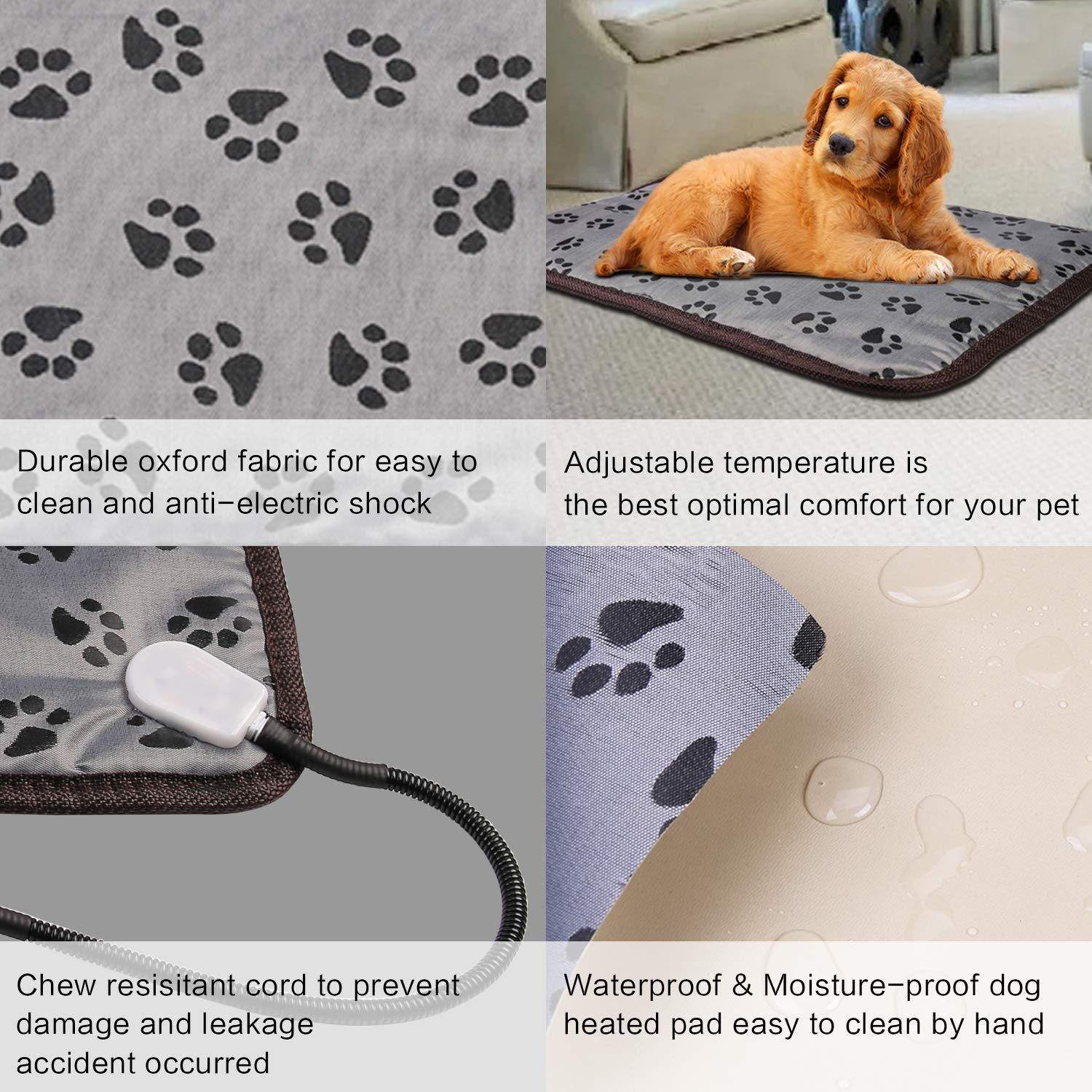 Waterproof Pet Heated Pad Bed Puppy Dog Cat Warmer Electric Heating Mat Cushion
