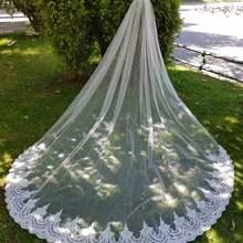 Высококачественная свадебная фата на заказ с кружевной аппликацией по краям, вуаль для невесты белого цвета/цвета слоновой кости, свадебная вуаль с гребнем